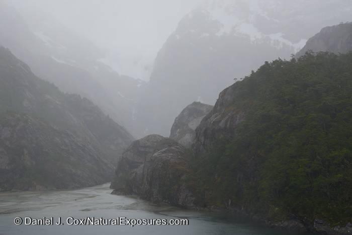 Fog hangs in the steep valleys leading in to Garibaldi Fjord.