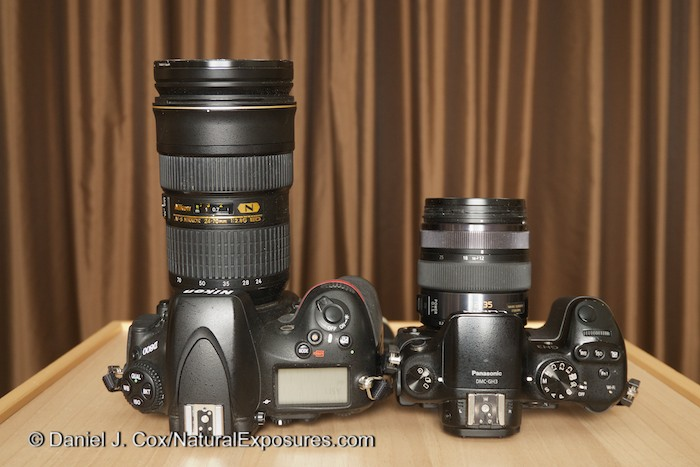 On the left is my Nikon D800 with a 24-70mm F/2.8 lens. On th right is the Lumix GH3 with a 12-35mm F/2.8 which is the equivalent to the same lens on the Nikon.