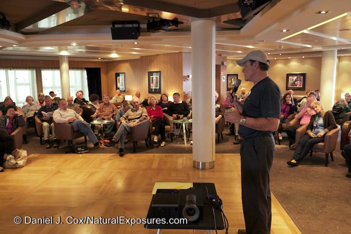 Me speaking to a group of enthusiast photographers at one of our afternoon lectures onboard the Seabourn Quest.