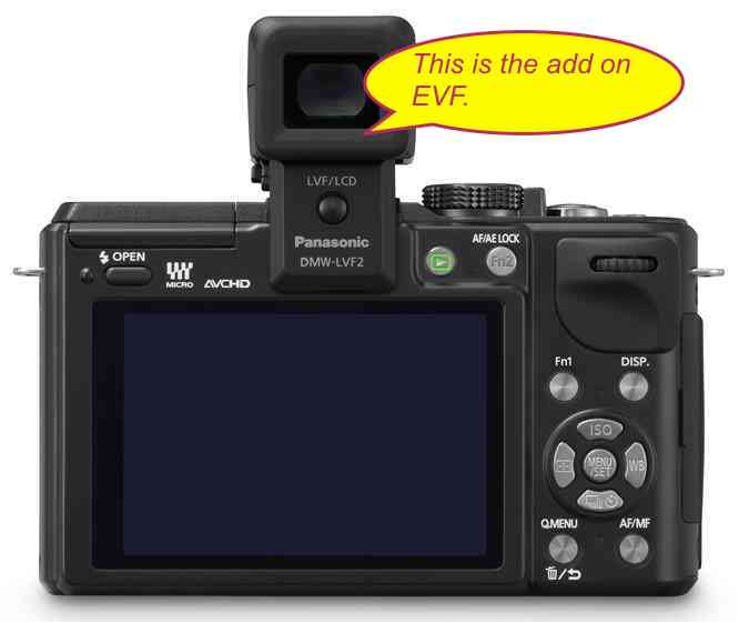 A Lumix GX1 with an attached Electronic View Finder