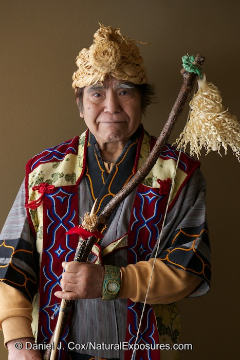 Local Hokkaido Ainu native Senke Morio poses for our cameras at the Lake Akan Hotel on the island of Hokkaido, Japan. Photo shot with Lumix GH3 and 35-100mm F/2.8 lens. ISO 400