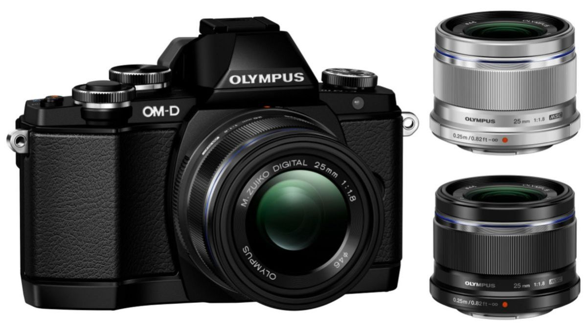 The Olympus Om-D with black and silver version of the 25mm F/1.8