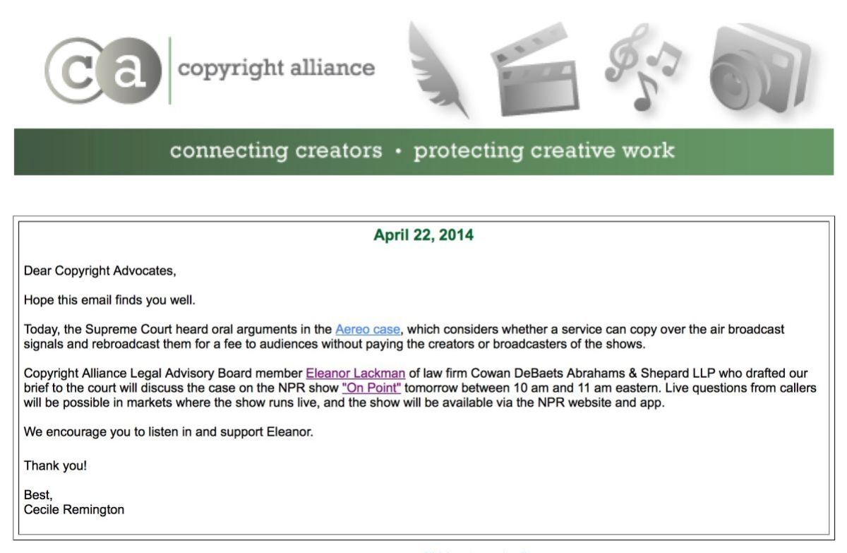 Copyright Alliance protecting your Intellectual Property rights.