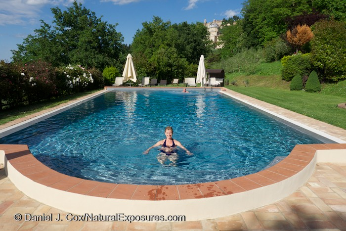 Tanya enjoying the nearly olympic sized pool at Relais San Bruno. Lumix GH4 with 12-35mm F/2.8