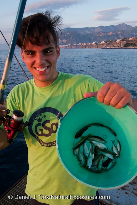 Luigi DeMartino with his catch on the docs in Sorrento, Italy.