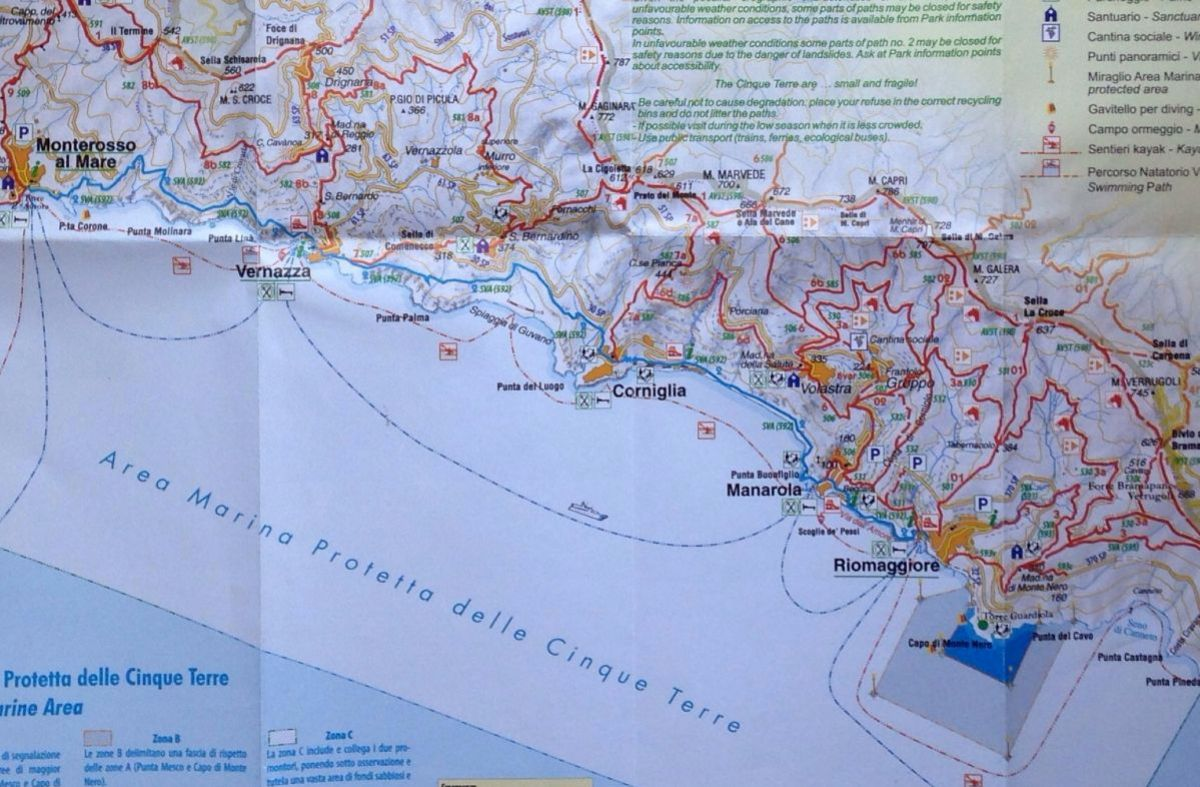 A shot of our local map showing the seaside communities we explored in the  Cinque Terre region.