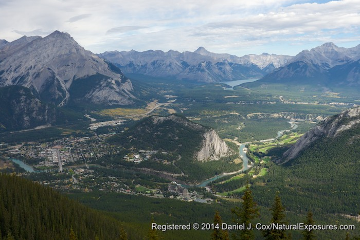 Looking down on to the mouton town of Banff. Alberta. Lumix GH4 with 12-35mm lens.