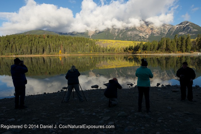Our intrepid crew of Explorers line the shores of  Patricia Lake to shoot the beautiful reflections of the surrounding moutons and aspen groves. GH4 with 12-35mm