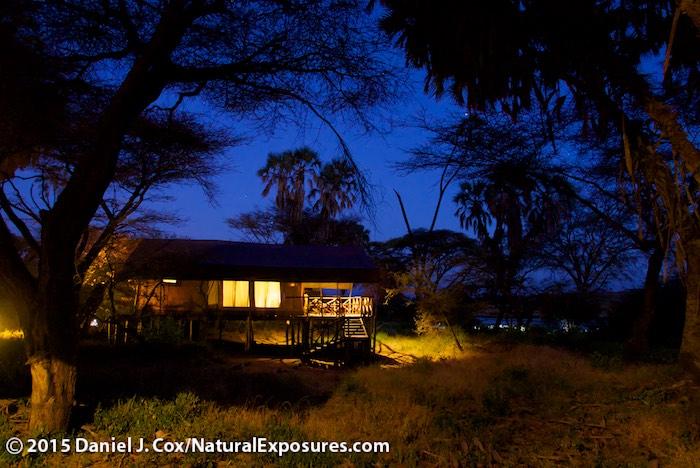 Dusk falls over our tent at Elephant Bedroom camp in Samburu Nationa Reserve, Kenya. Lumix LX100 ISO800