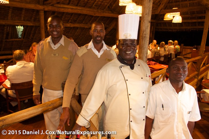 The kitchen crew pose for pictures at the Mara Intrepids Lodge. Kenya