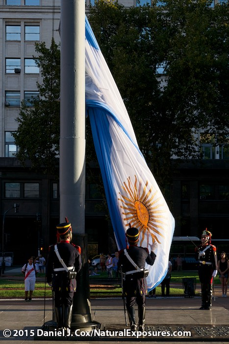 The nightly changing of the guard at Plaza de Mayo, Buenos Aires, Argentina.