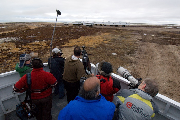 An NBC TV crew doing a story on polar bears. David Vaskevitch in the red and black jacket on the right with the big furry hat getting still photos.