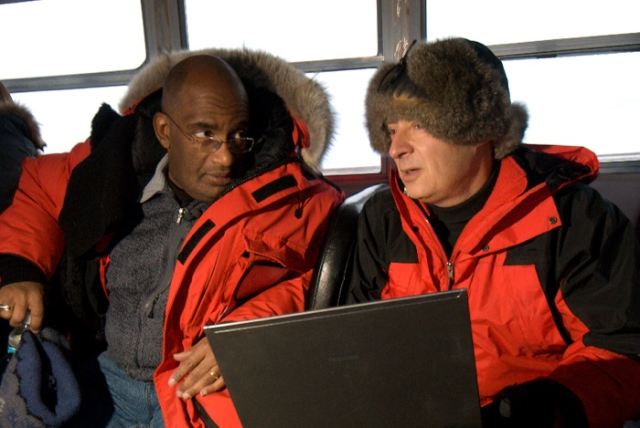 TV personality Al Roker and David Vaskevitch discussing all things polar bears on a Tundra Buggy in Churchill, Manitoba.