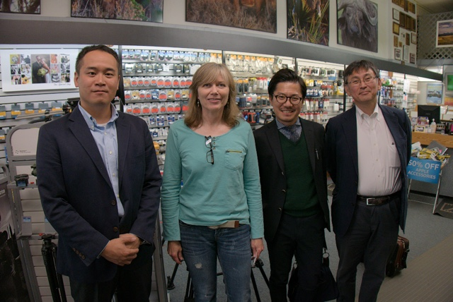 Panasonic Lumix Executives from Tokyo meet with Marsha Phillips F11 Photographic Supplies in Bozeman, Montana.