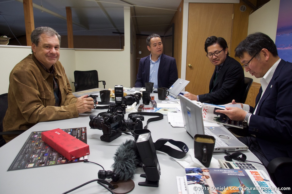 A meeting at my office in Bozeman with the executives from Panasonic where they first showed me the new 100-400mm zoom.