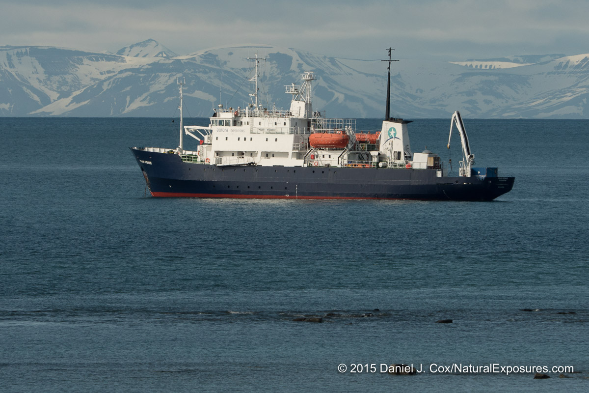Our ship anchored  in the bay near Kapp Lee, in Freemansundet, Svalbard, Norway. Lumix GH4 with Olympus 40-150mm F/2.8 and 1.4X teleconverter