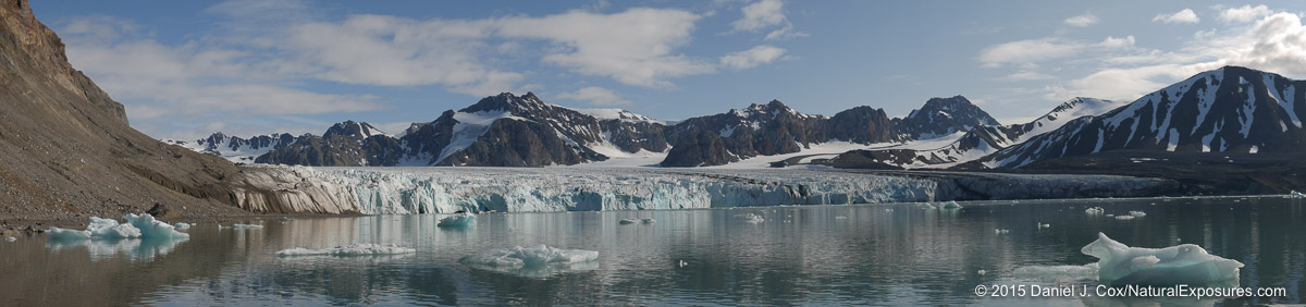 the Lilliehookbreen glacier shot with the Lumix G7 in Panoramic mode with the 12-35mm F/2.8