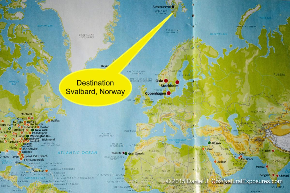 A map of the world showing where Svalbard is in relation to almost everywhere else.