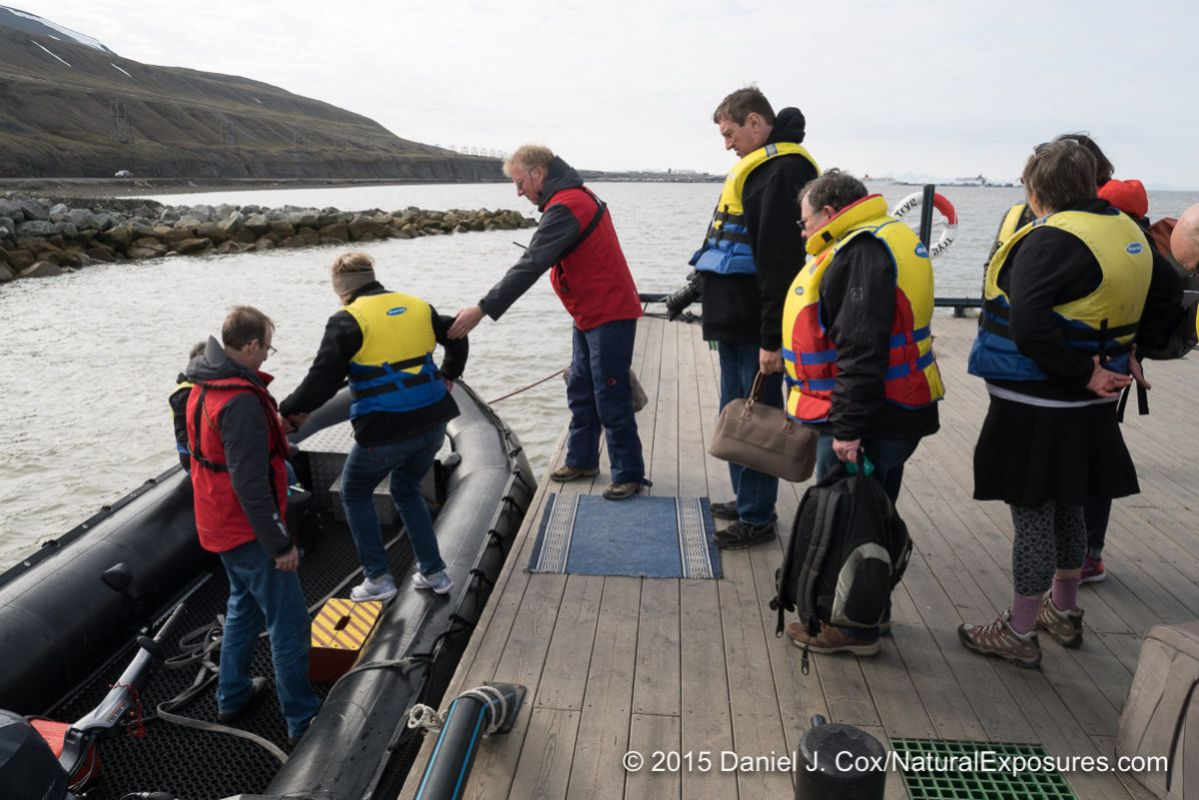 Getting in for our first Zodiac ride to the ship. Longyearbyen, Norway.