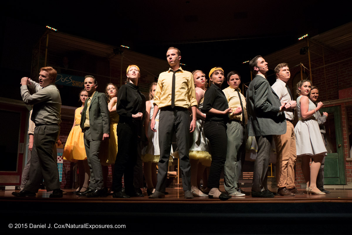 The cast of West Side Story on stage. Lumix G7 with 14-140mm. ISO 1600