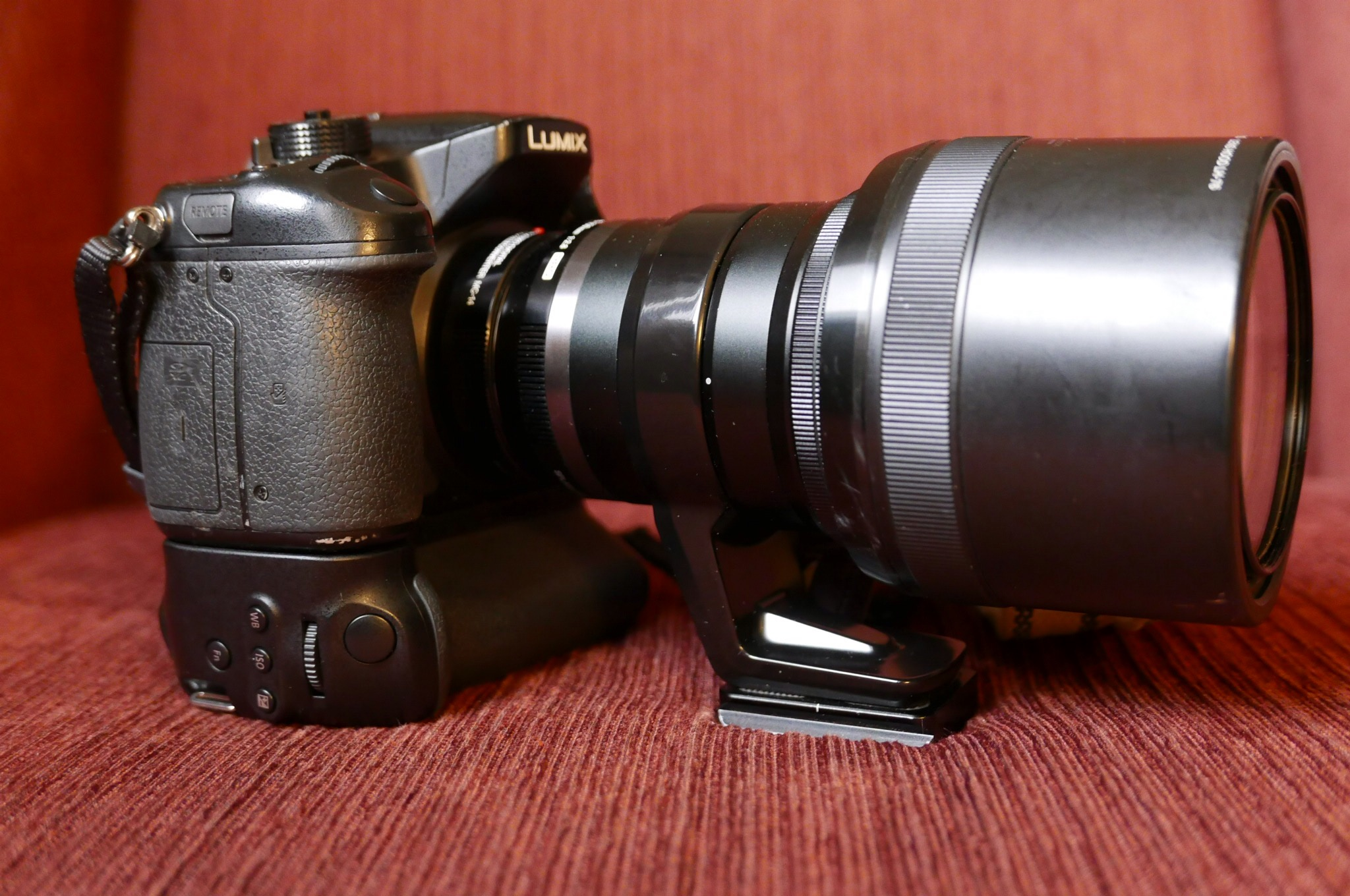 Lumix GH4 with the BGGH3 battery grip attached and the Olympus 40-150mm F/2.8 lens