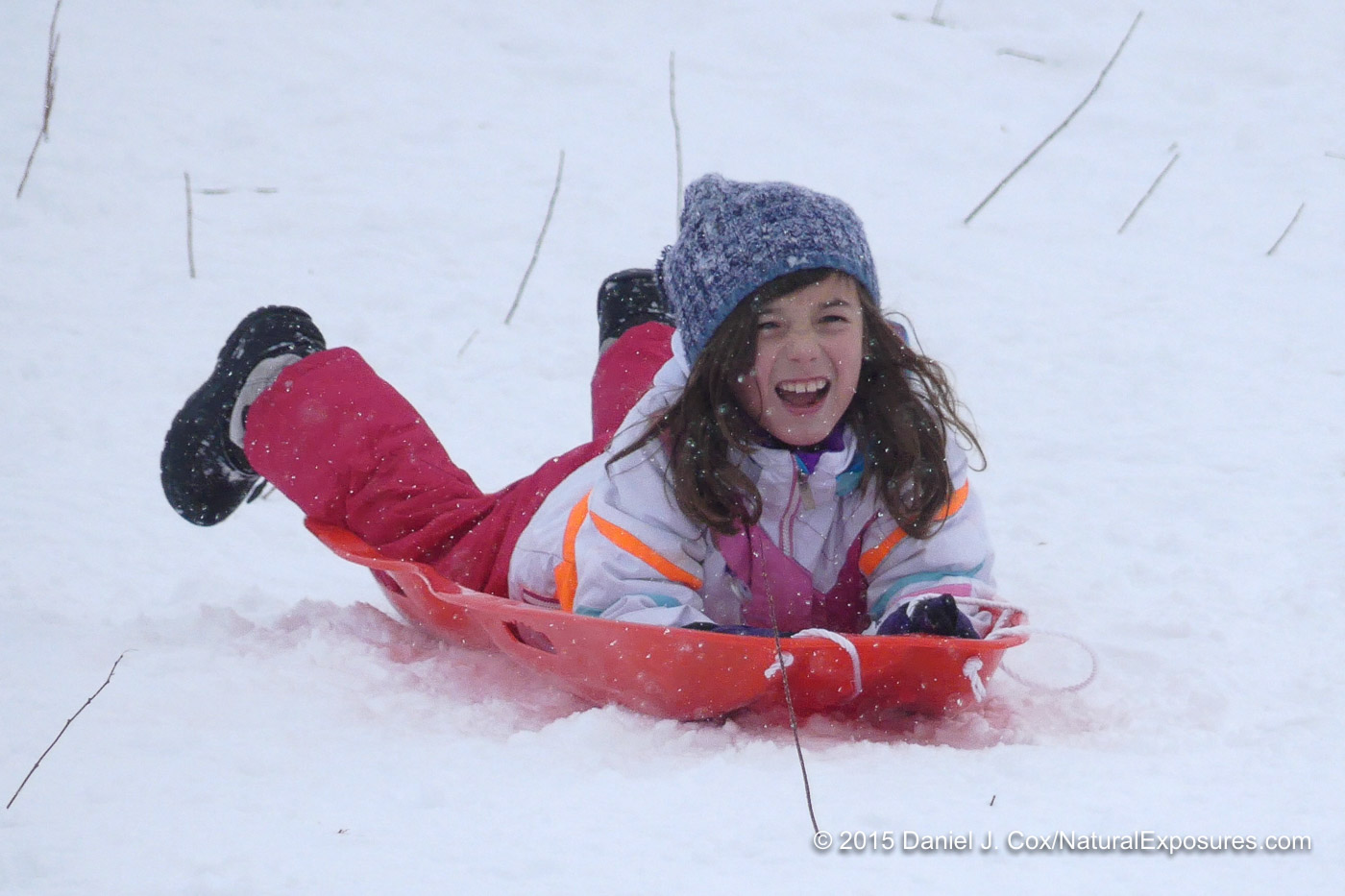 Isabella sledding on Pete's Hill. Bozeman, Montana FZ300 in 4K Photo Mode.