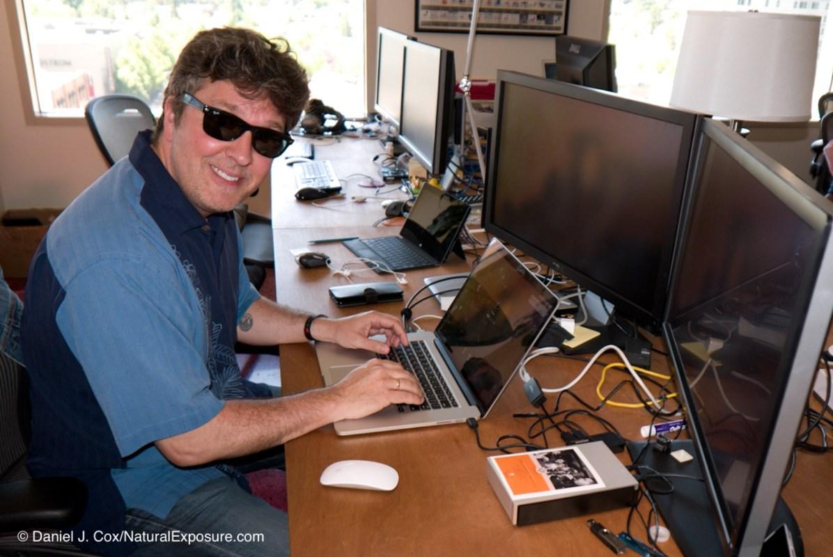 Captain Cool, Mylio software engineering guru JP Duplesses working his Mylio magic on his Mac keyboard. Mylio headquarters in Seattle, Washington.