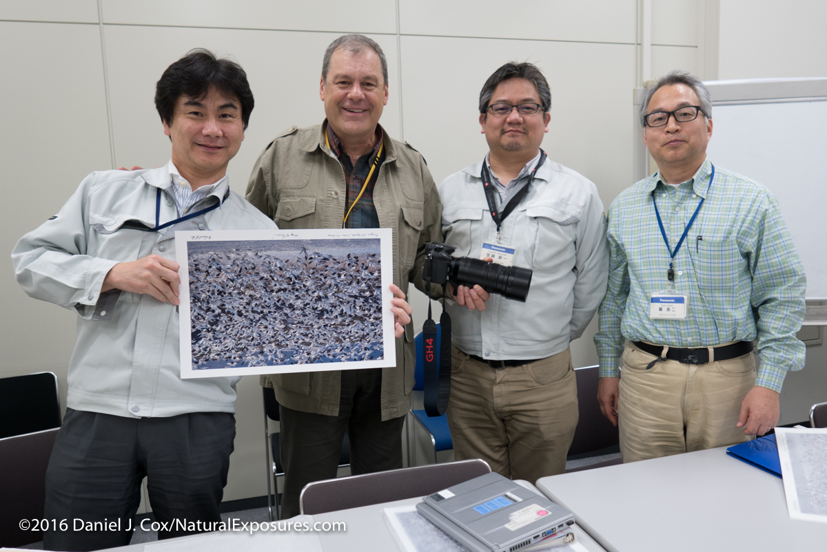The lens development team with a picture gave teach of them shot with the new Leica 100-400mm zoom which I'm holding attached to a GH4.