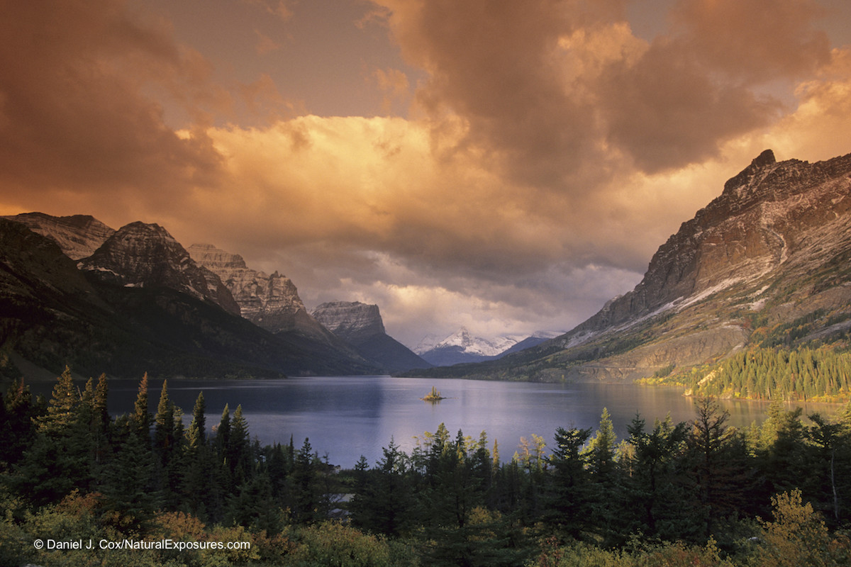 St. Mary's Lake and Lone Goose Island during autumn in Glacier National Park, Montana.