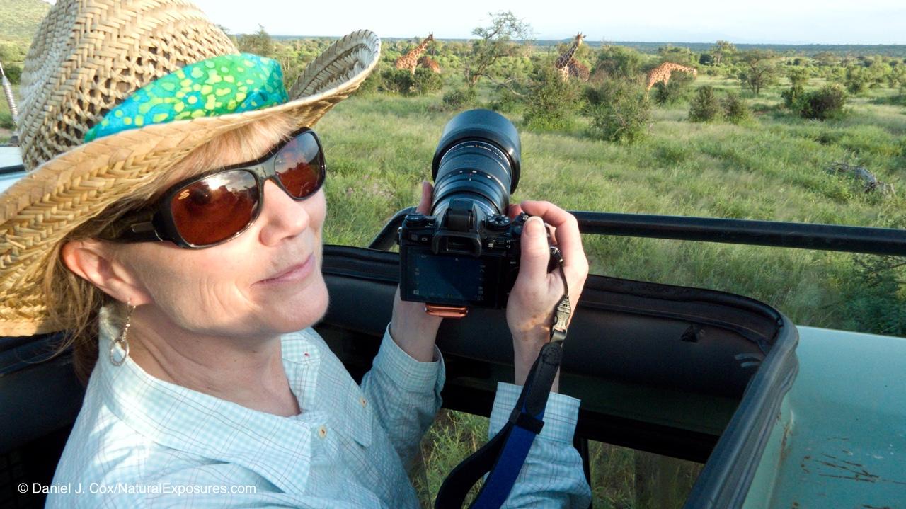 Marsha Philips of F11 Photographic Supply on safari with Natural Exposures Invitational Photo Tours. Kenya.