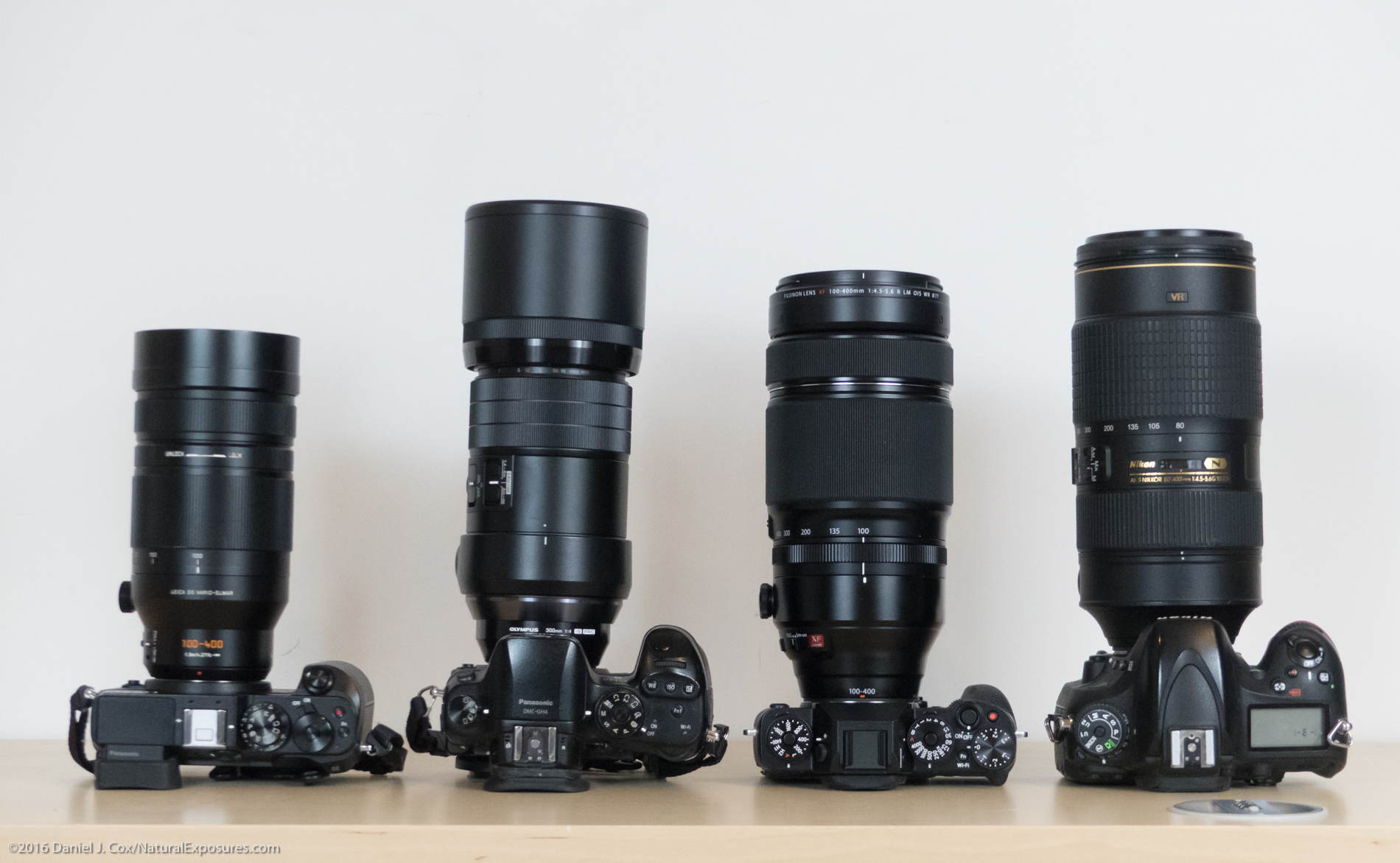 From left to right is the Lumix GX8 with Leica 100-400mm, Lumix GH4 with Olympus 300mm F/4, Fuji XT2 with 100-400mm and Nikon D600 with 80-400mm.