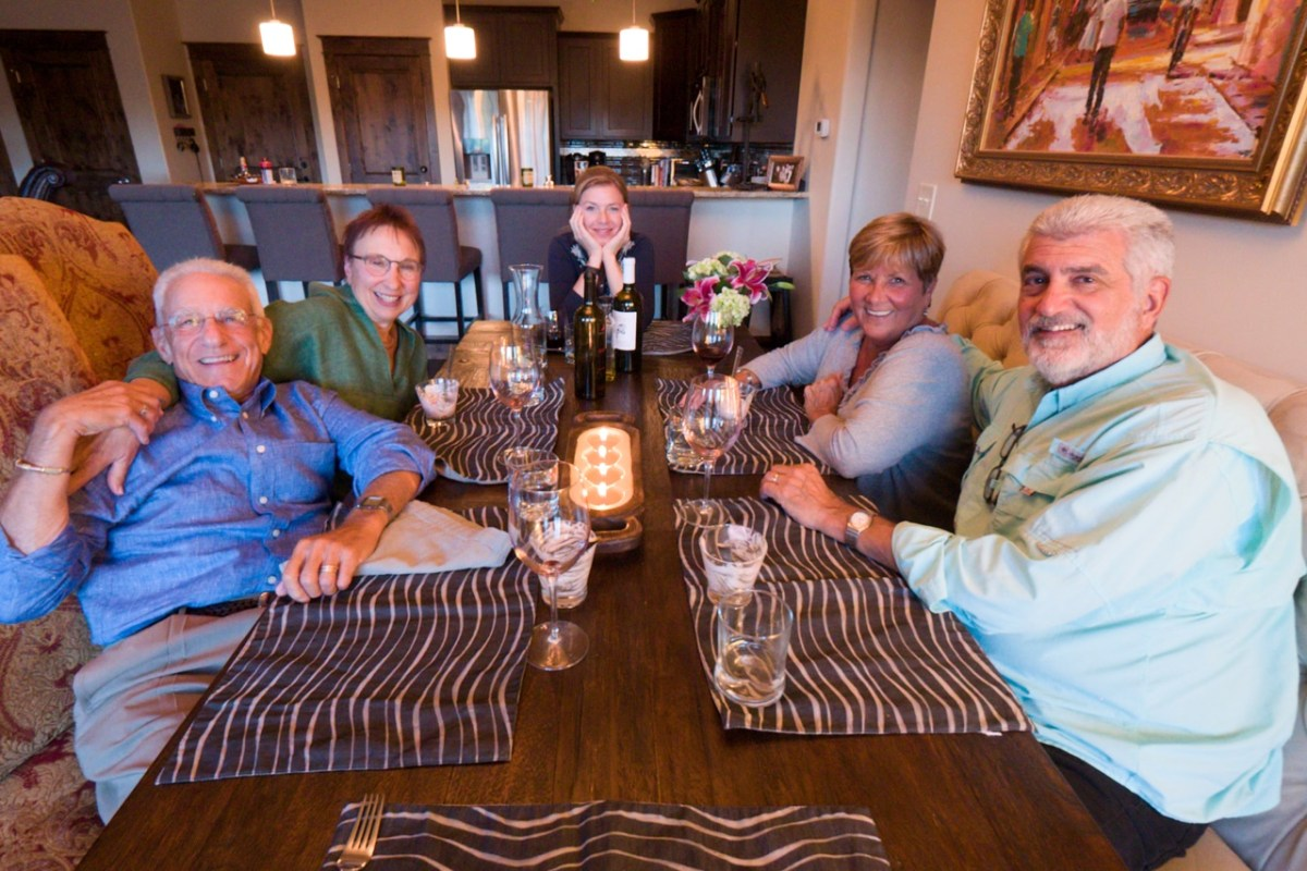 An evening dinner at the Cox's with Skip and Shiela on the right and NE Explorers Denis and Barbara Prager on the left. Tanya my dear wife in the middle.