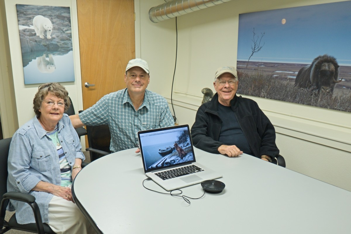 My mother Marlene Cox the left, me in the middle and father Jack Cox on the right in our conference room at Natural Exposures and Polar Bears International offices in Bozeman, Montana
