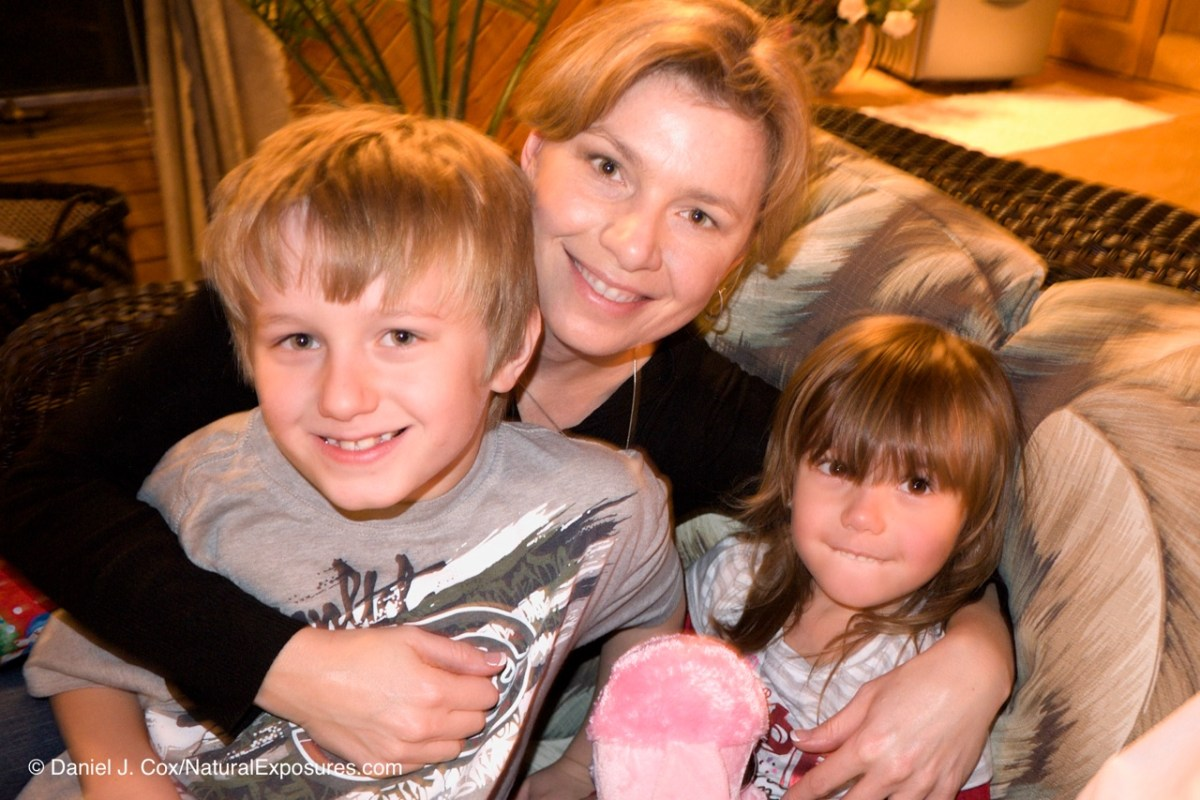 Isaac, Aunt Tanya and Isabella, Christmas 2011 at Terry and Jane's in Winnipeg, Manitoba