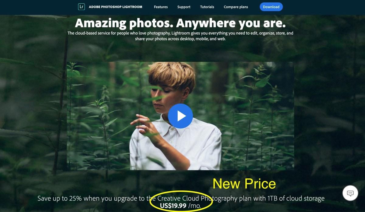 Adobe Price Increase for  Lightroom & Photoshop