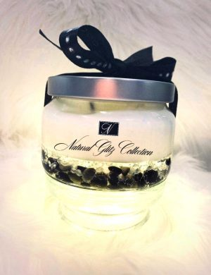 Black Obsidian Crystal And White Diamond Candle