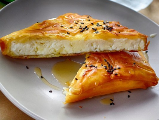 Amaranth And Feta Phyllo Triangles