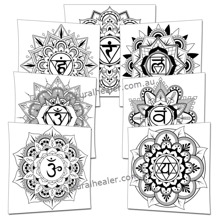 7 Chakras Mandala Poster Pack of 14 (Digital)