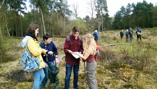 The trainees puzzle over their latest capture (L-R: Sally, Anthony, Mike and Katy)