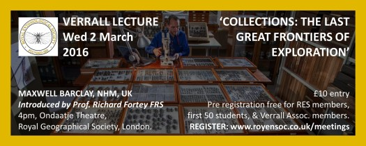 Digital version of a flier for the Verrall Lecture showing title, price, location, time and date