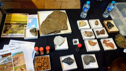Rocks laid out on the table at Science Uncovered