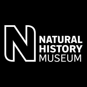 The Natural History Museum logo, white on a black background