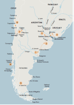 Map showing Darwin's main overland excursions in South America.