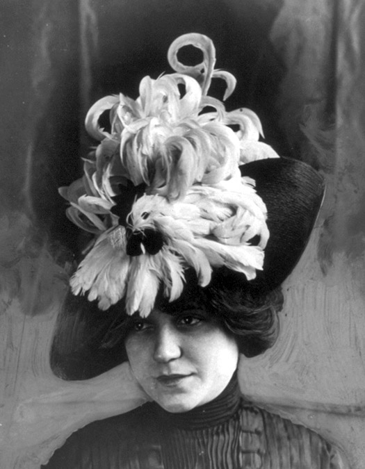 Head and shoulders of a model wearing a hat covered in the feathers of a whole bird.