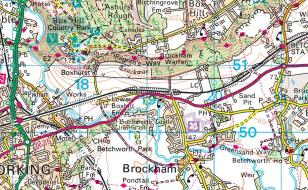 Brockham, Surrey on Streetmap