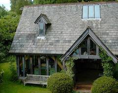 An oak timber framed house in Devon England