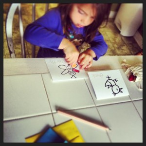 Marcella coloring some thank you cards