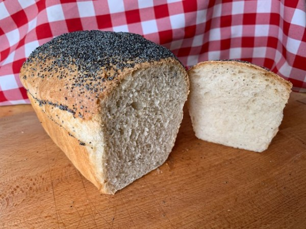 White loaf with poppy seeded top