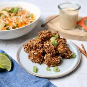 Noedelsalade met crunchy granola tempeh