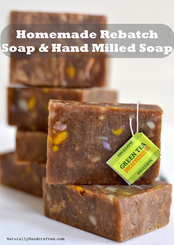 homemade rebatch soap and hand milled soap with green tea